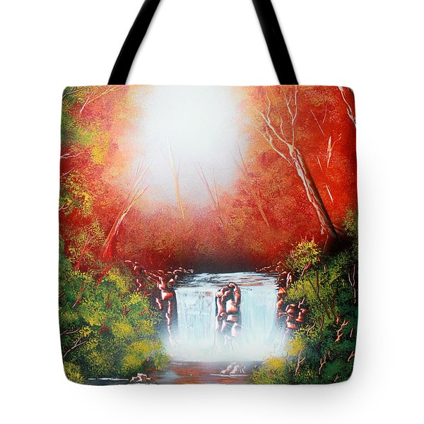 Tote Bag featuring the painting Twin Falls  by Greg Moores