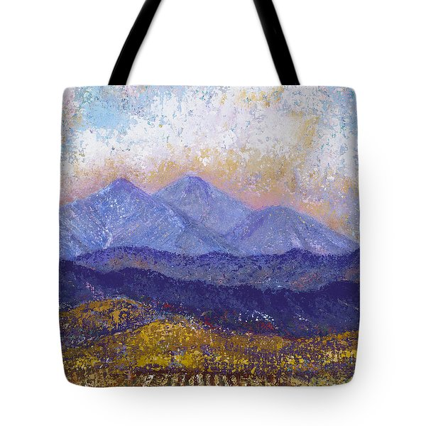 Tote Bag featuring the painting Twin Peaks Above The Fruited Plain by Margaret Bobb
