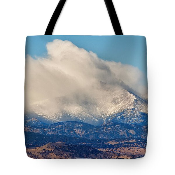 Twin Peaks Winter Weather View  Tote Bag by James BO  Insogna