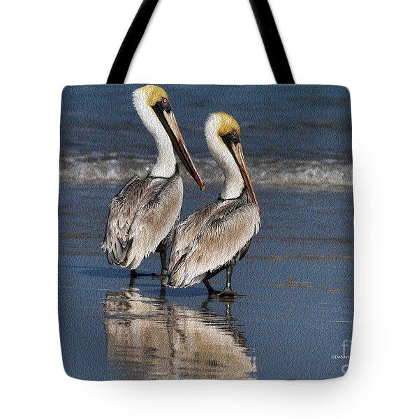 Twin Pelicans Tote Bag by Deborah Benoit