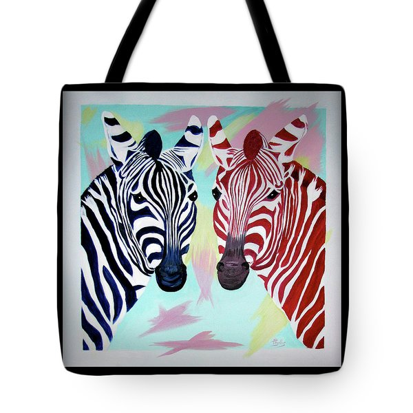 Tote Bag featuring the painting Twin Zs by Phyllis Kaltenbach