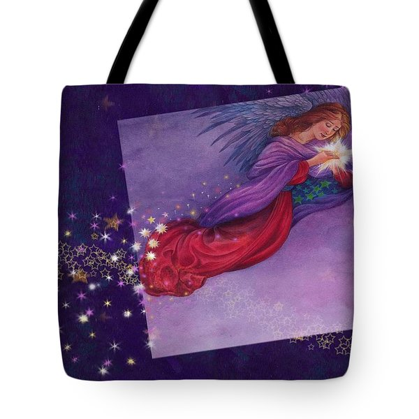 Tote Bag featuring the painting twinkling Angel with star by Judith Cheng