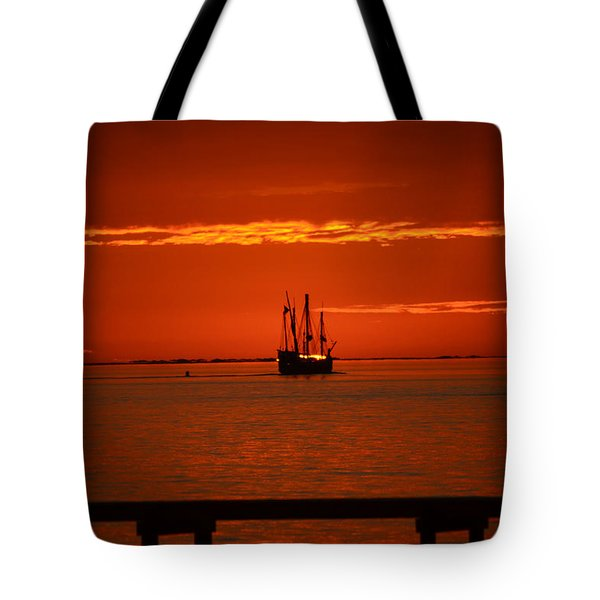 Tote Bag featuring the photograph Two 3-masted Schooners Sail Off Into The Santa Rosa Sound Sunset by Jeff at JSJ Photography