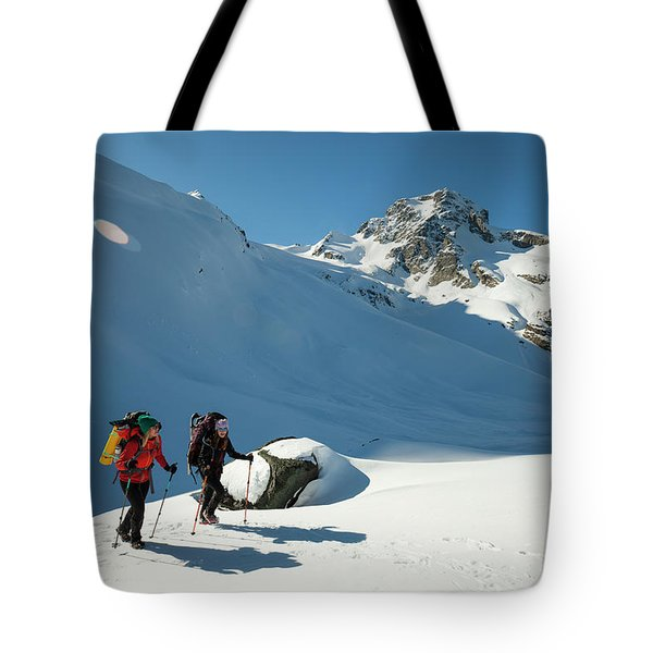 Two Active Female Backpackers Hiking Tote Bag