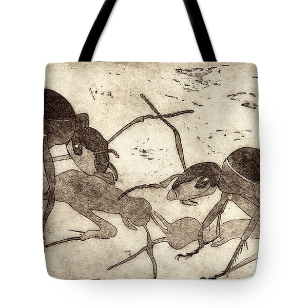 Two Ants In Communication - Etching Tote Bag