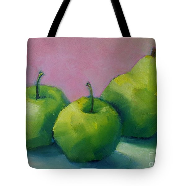 Two Apples And One Pear Tote Bag