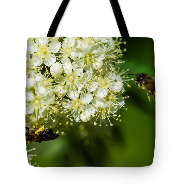 Two Bees On A Rowan Truss - Featured 3 Tote Bag by Alexander Senin