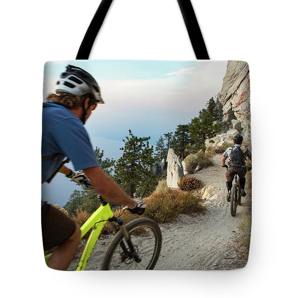Two Bikers Crossing Flume Trail Tote Bag