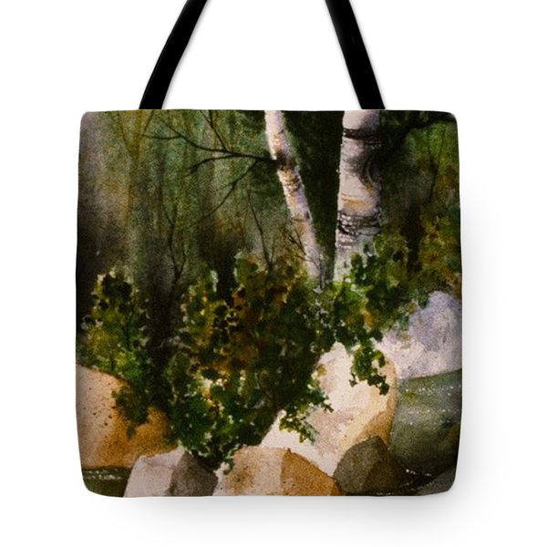 Two Birch By Rocky Stream Tote Bag