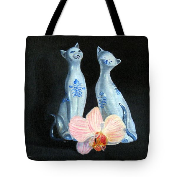 Tote Bag featuring the painting Two Birthday Party Cats by LaVonne Hand