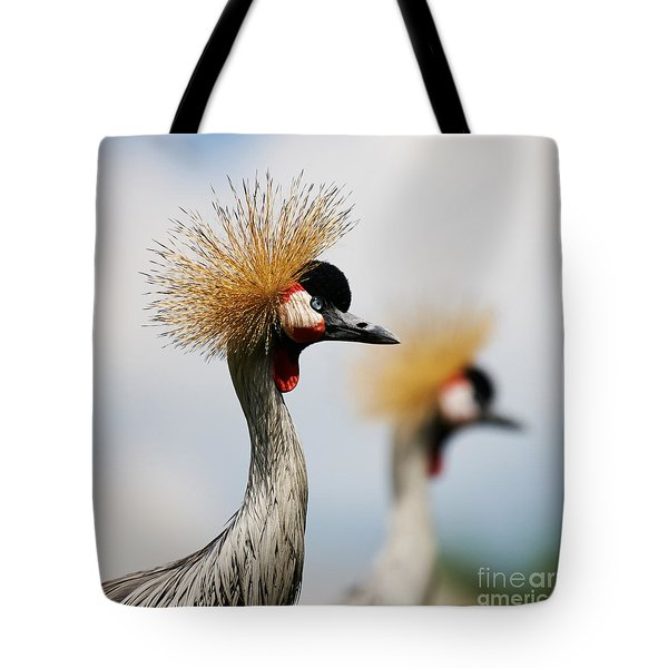 Two Black Crowned Cranes Tote Bag