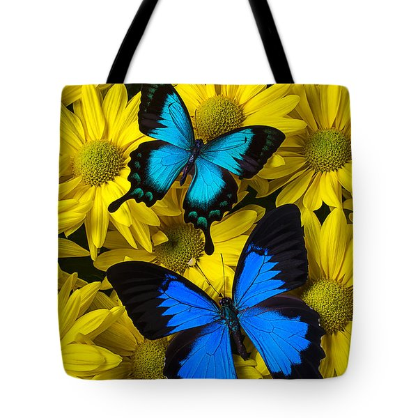 Two Blue Butterflies Tote Bag by Garry Gay
