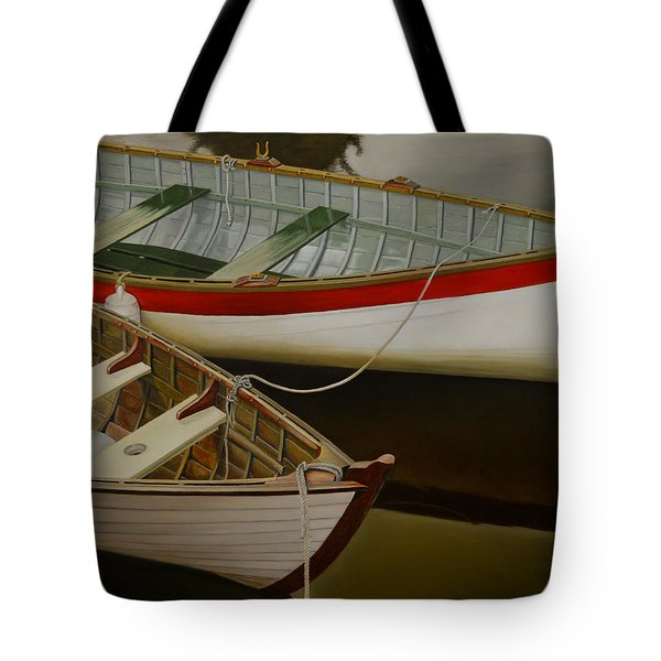 Tote Bag featuring the painting Two Boats by Thu Nguyen