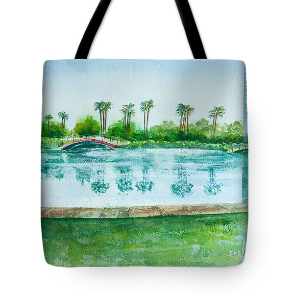 Tote Bag featuring the painting Two Bridges At Rainbow Lagoon by Debbie Lewis