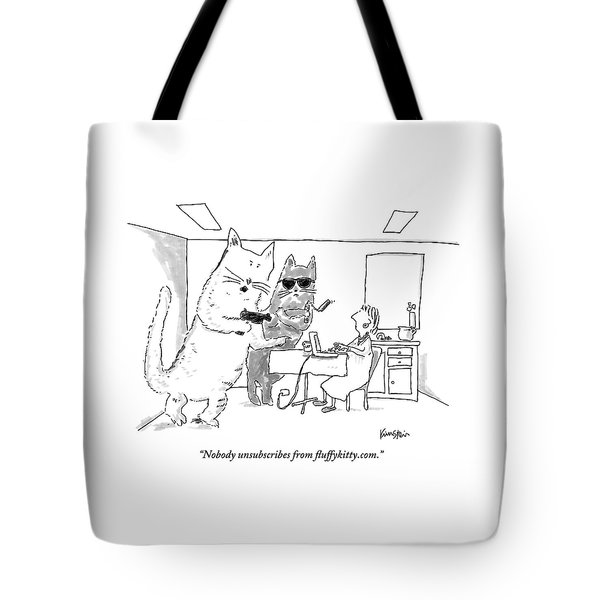 Two Cats Threaten An Old Lady Tote Bag