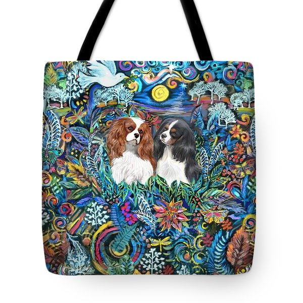 Two Cavaliers In A Garden Tote Bag
