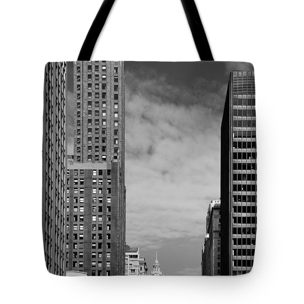 Two Chicago Classics- Carbide And Carbon And Wrigley Building Tote Bag by Christine Till