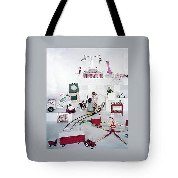 Two Children Playing With Vintage Toys Tote Bag