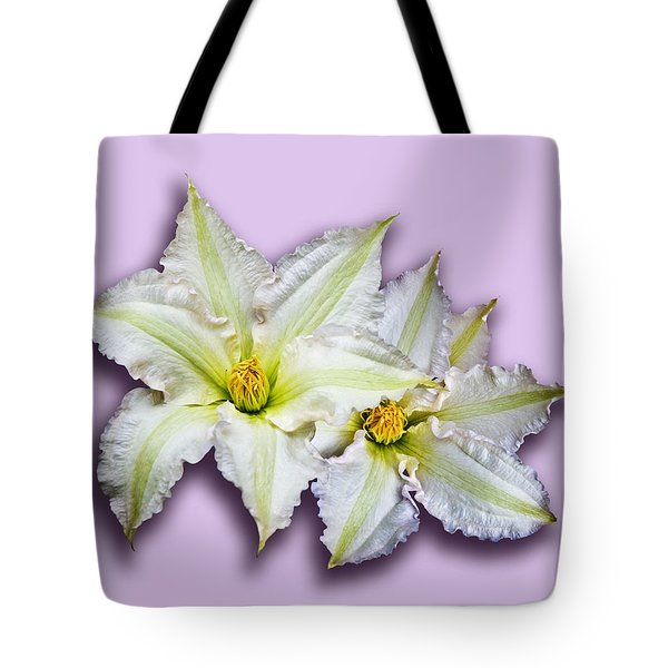 Two Clematis Flowers On Pale Purple Tote Bag by Jane McIlroy