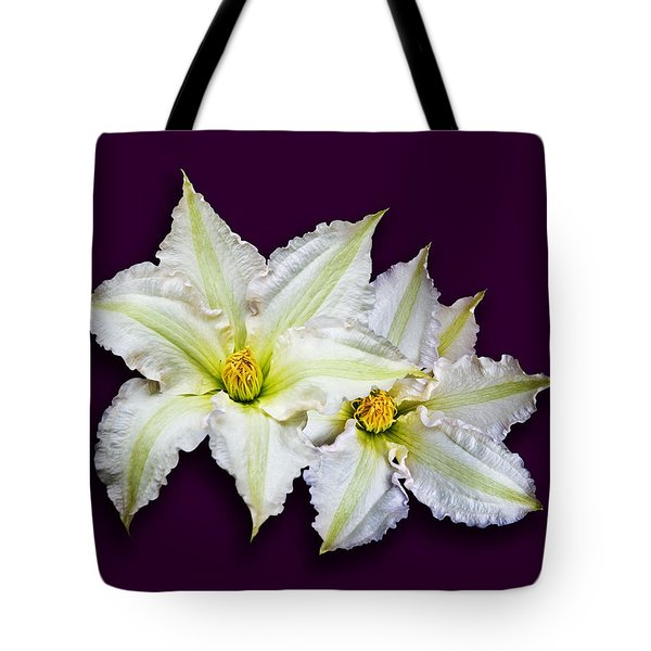 Two Clematis Flowers On Purple Tote Bag by Jane McIlroy