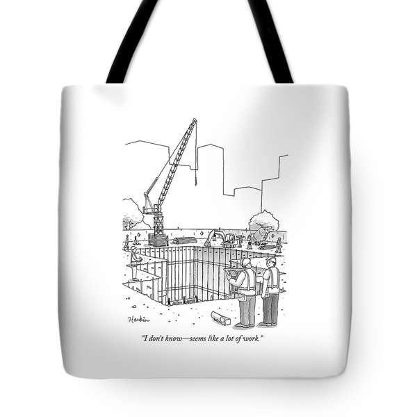 Two Construction Workers Look Out Over A Massive Tote Bag