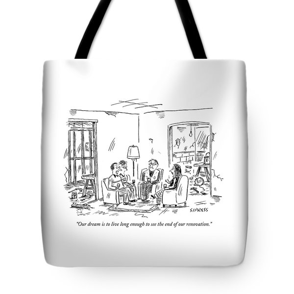 Two Couples Sitting In The Middle Of A House Tote Bag