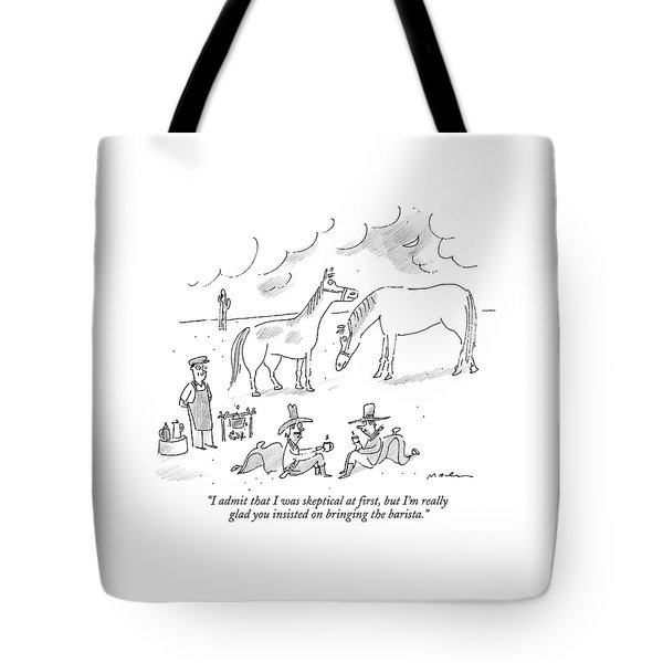 Two Cowboys In The Desert Drink Coffee Tote Bag
