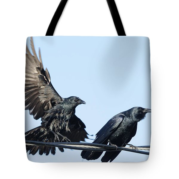 Two Crows On A Wire Tote Bag