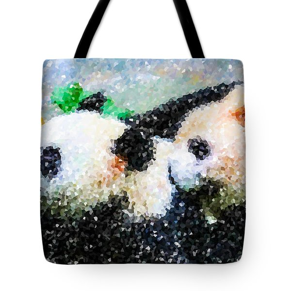 Two Cute Panda Tote Bag by Lanjee Chee