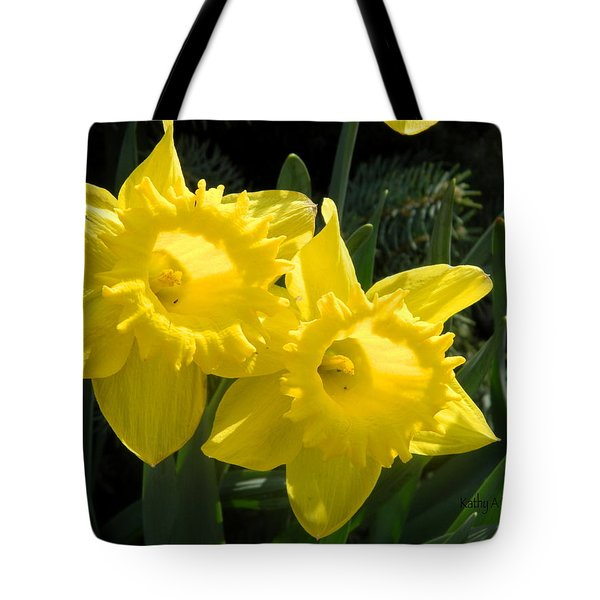 Tote Bag featuring the photograph Two Daffodils by Kathy Barney