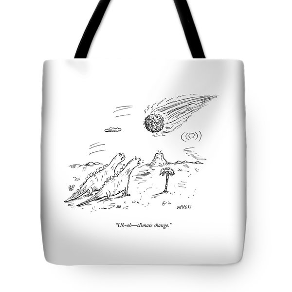 Two Dinosaurs Look At A Fast-approaching Meteor Tote Bag