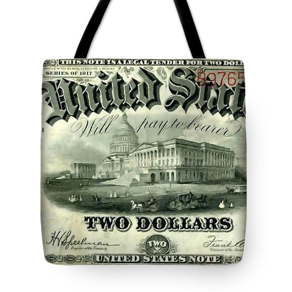 Two Dollar 1917 United States Note Fr60 Tote Bag by Lanjee Chee