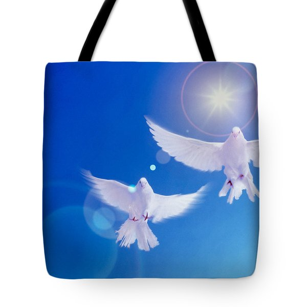 Two Doves Side By Side With Wings Tote Bag by Panoramic Images