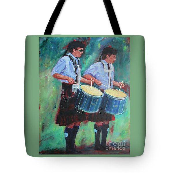Two Drummers Tote Bag
