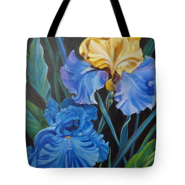Tote Bag featuring the painting Two Fancy Iris by Jenny Lee