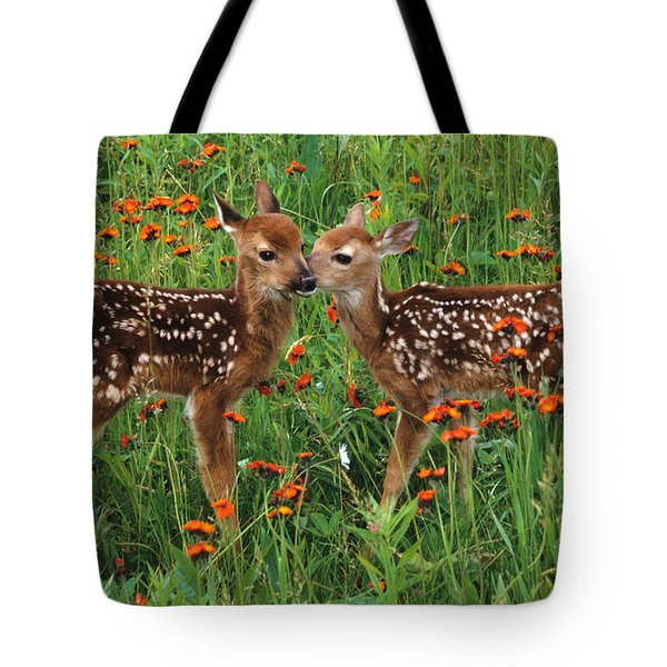 Two Fawns Talking Tote Bag by Chris Scroggins