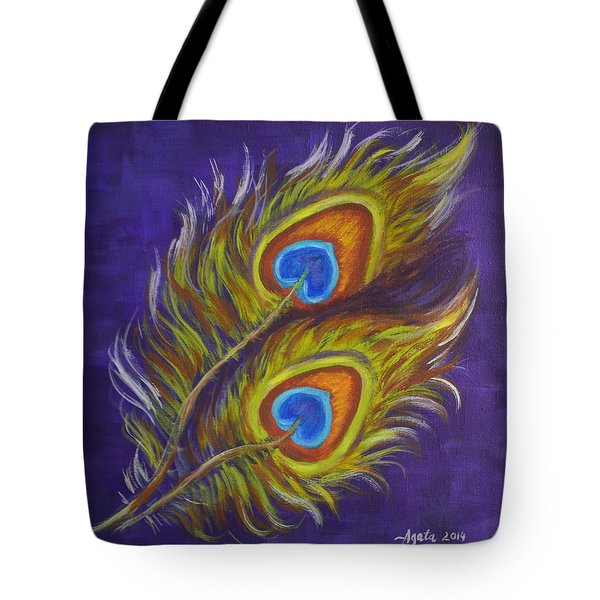 Tote Bag featuring the painting Two Feathers by Agata Lindquist