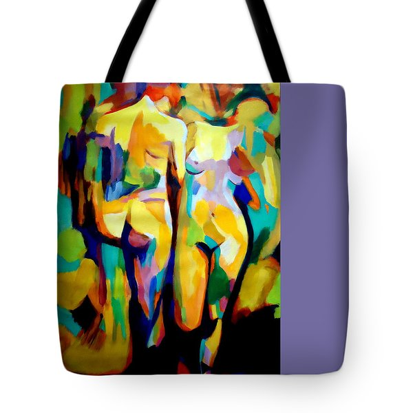 Tote Bag featuring the painting Two Nudes by Helena Wierzbicki