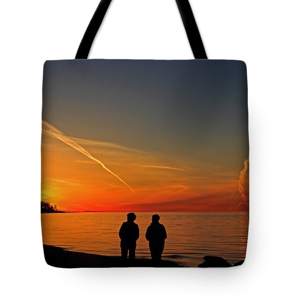 Two Friends Enjoying A Sunset Tote Bag