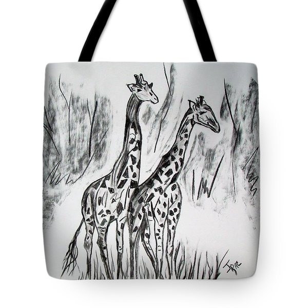 Tote Bag featuring the drawing Two Giraffe's In Graphite by Janice Rae Pariza