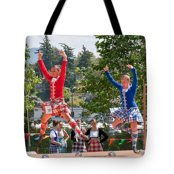 Two Girls Scottish Dancing Art Prints Tote Bag