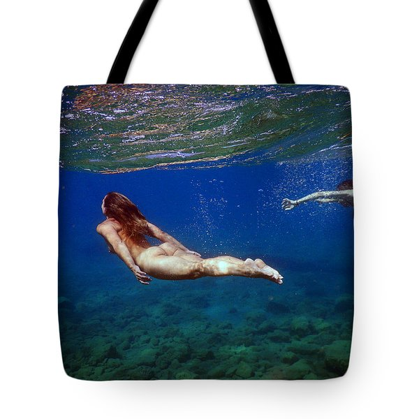 Two Girls Under The Sea Tote Bag