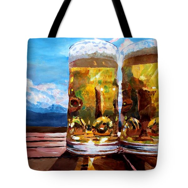 Two Glasses Of Beer With Mountains Tote Bag by M Bleichner