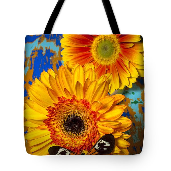 Two Golden Mums With Butterfly Tote Bag by Garry Gay