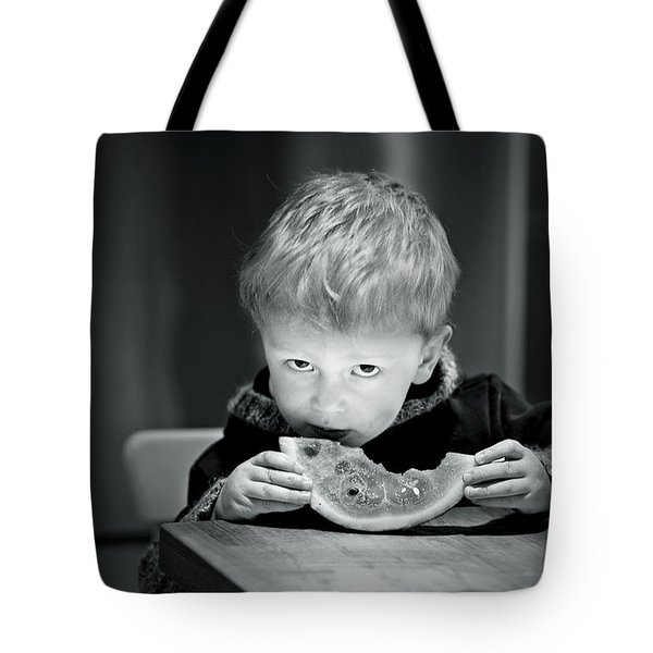 Two Hands And A Slice Of Adorable Tote Bag by Valerie Rosen