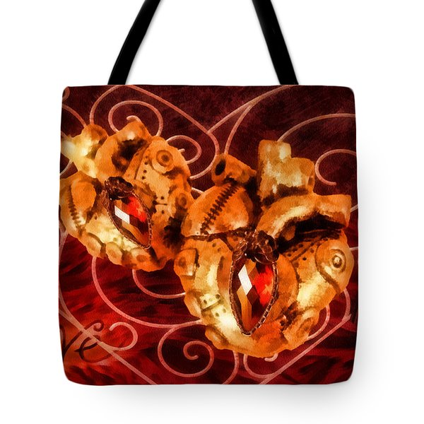 Two Hearts Tote Bag by Mo T