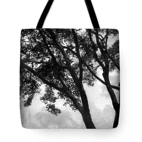 Two Heron - Black And White Tote Bag