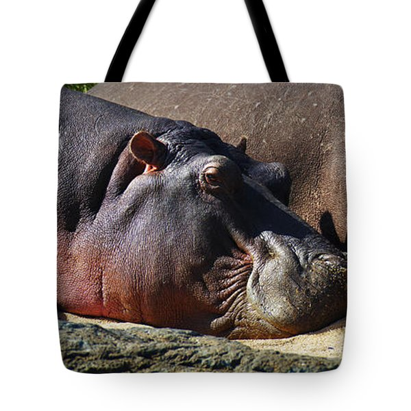 Two Hippos Sleeping On Riverbank Tote Bag by Johan Swanepoel