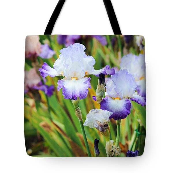 Tote Bag featuring the photograph Two Iris by Patricia Babbitt