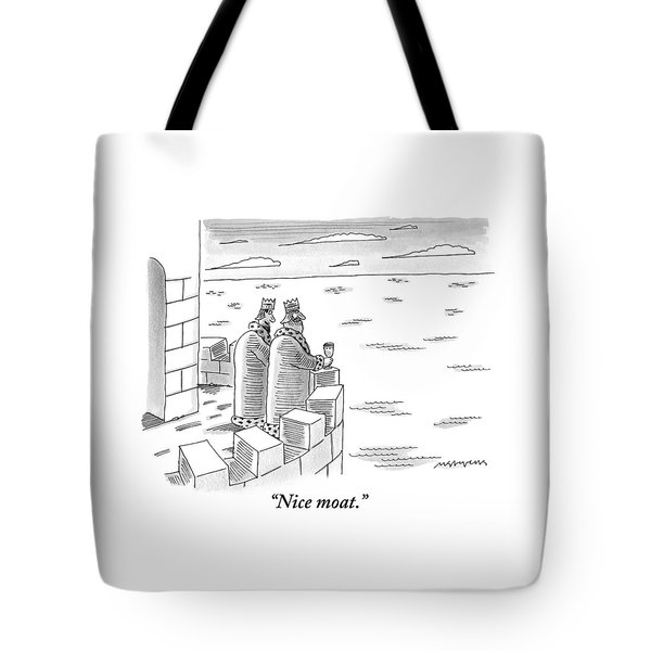 Two Kings Are Seen Standing On A Castle Looking Tote Bag